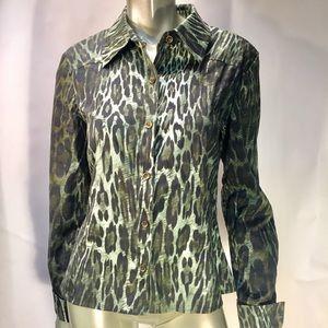 St. John Sport Olive Green Animal Print Shirt ''